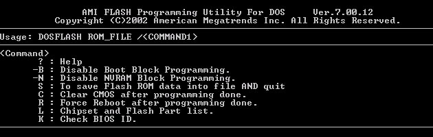 AMI FLASH Programming Utility For DOS Ver.7.00.12