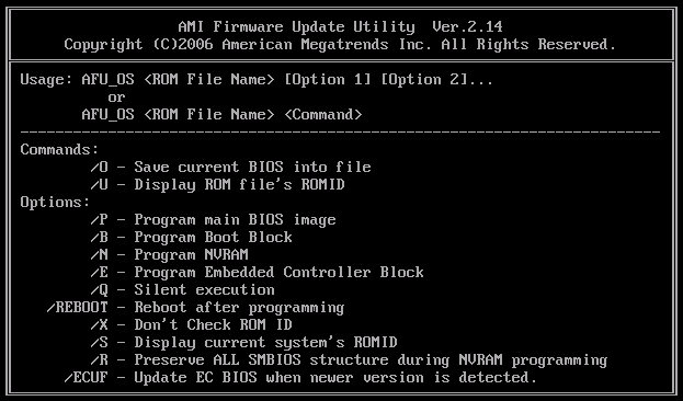 Flash Utility for MSI: AMI Firmware Update Utility v2 14