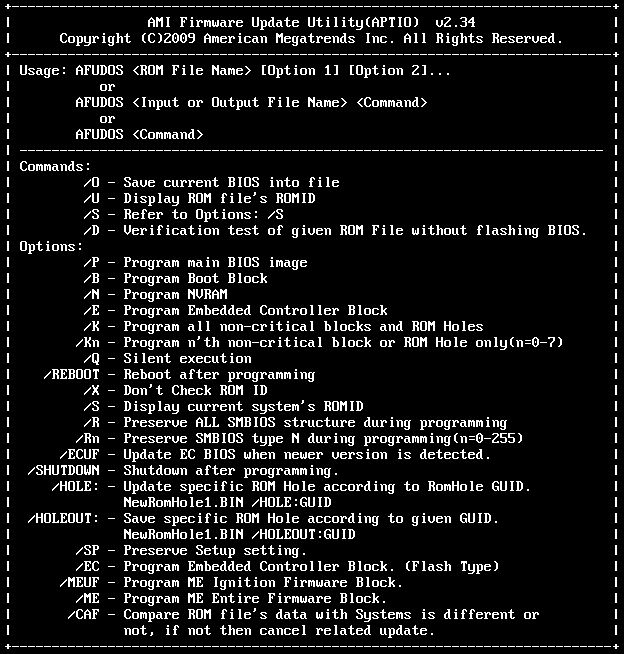 Flash Utility for MSI: AMI Firmware Update Utility 2 34